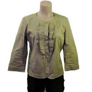 TALBOTS Khaki ruffle front blazer jacket size 6